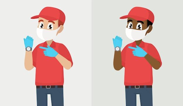 Entregador ou mensageiro com máscara médica de segurança se apressa apontando para o tempo de exibição