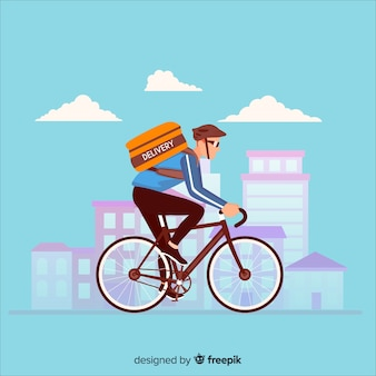 Entregador plano no fundo da bicicleta
