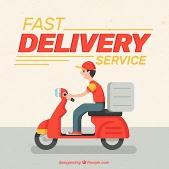Entregador rápido com design plano