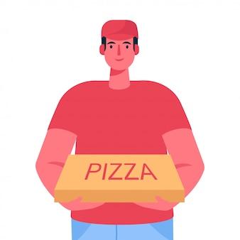 Entregador, segurando a caixa de papelão de pizza