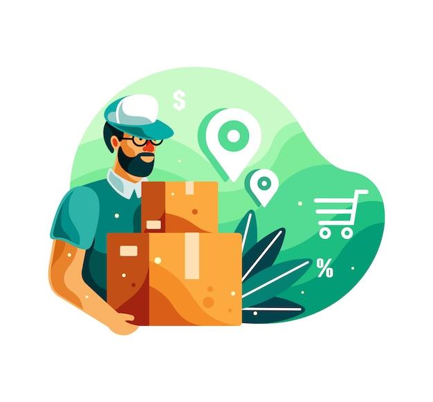 Entregador, segurando a ilustração da caixa