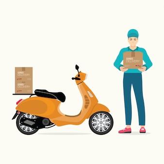 Entregador segurando caixas com moto scooter.
