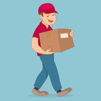 Entregador segurando e carregando um cardbox