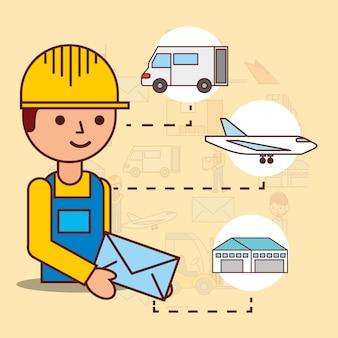 Entregador segurando envelope correio van avião e armazém