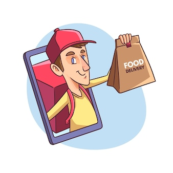 Entregador segurando ilustração de sacola de comida