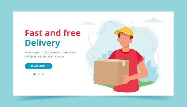Entregador, segurando uma caixa de encomendas. serviço de entrega, entrega rápida e gratuita.