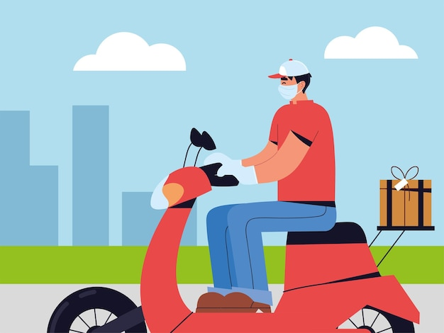 Entregador usando máscara facial andando de scooter na rua