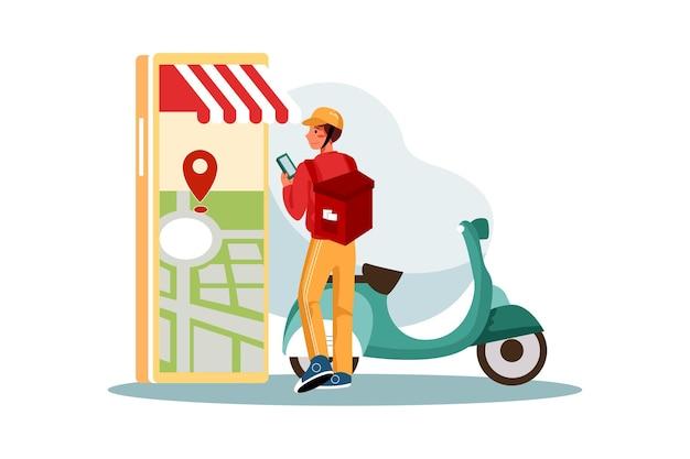Entregador verificando o local de entrega