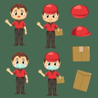 Entregador vestindo uniforme e boné com caixa de pacote e envelope em personagem de desenho animado, ilustração plana isolada