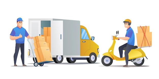 Entregadores entregam pacotes com ilustração de desenhos animados de van e scooter