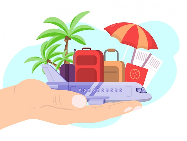 Entregue a bagagem do passaporte do avião do curso da posse e a bagagem no branco, ilustração. férias de viagem de conceito.