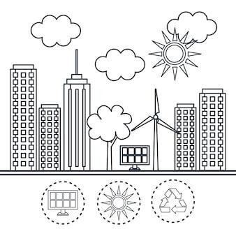 Entregue a cidade amigável tirada do eco com painel solar e turbina eólica sobre o fundo branco. ilustração vetorial
