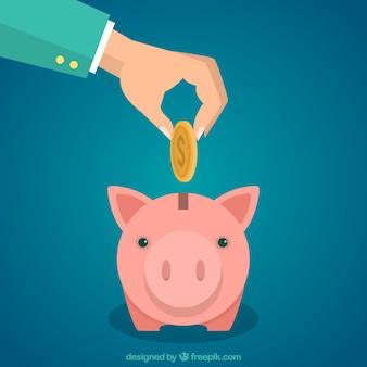 Entregue a colocação de moeda em um piggybank