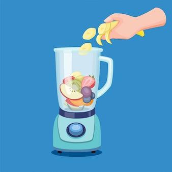 Entregue a fatia de frutas no liquidificador, fazendo smoothies de suco de bebida saudável no processador de alimentos na ilustração dos desenhos animados