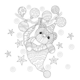 Entregue a ilustração desenhada do urso de peluche no estilo do zentangle