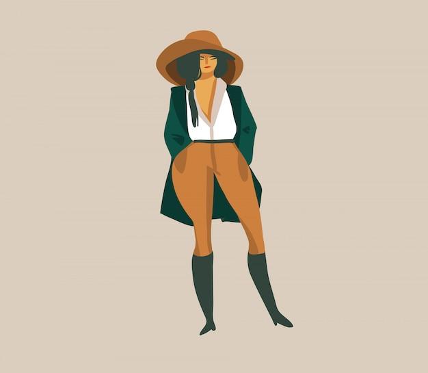 Entregue a ilustração gráfica abstrata conservada em estoque desenhada com uma menina no chapéu e uniforme em um safari selvagem no fundo branco
