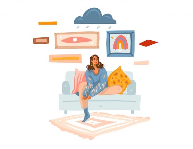 Entregue a ilustração gráfica conservada em estoque abstrata desenhada com a fêmea melancólica nova em casa que senta-se no sofá e que sonha no fundo branco