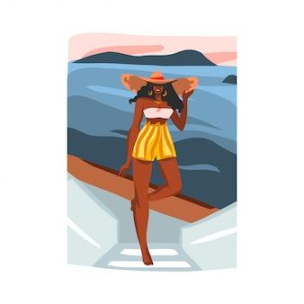 Entregue a ilustração gráfica conservada em estoque abstrata tirada com a fêmea afro feliz nova da beleza, no chapéu na cena da praia do pôr do sol no fundo branco.