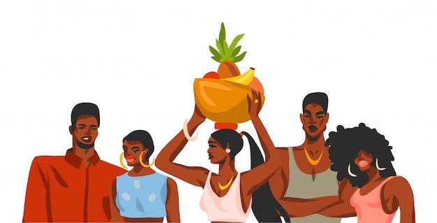 Entregue a ilustração gráfica conservada em estoque abstrata tirada com o grupo de amigos novo feliz da beleza estudantes mulheres e homens no fundo branco