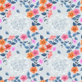 Entregue a matéria têxtil sem emenda tirada da tela do teste padrão das flores coloridas.