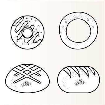 Entregue anéis de espuma tirados, anel do pão e pães sobre o fundo branco. ilustração vetorial.