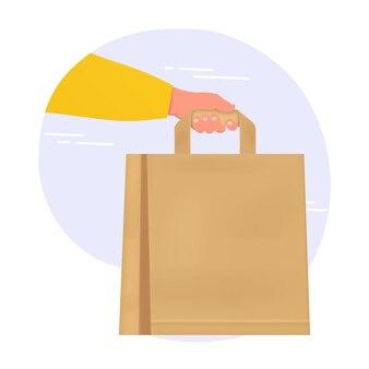 Entregue com um saco de papel, entrega segura e limpa de comida da loja do restaurante para casa. conceito de entrega.