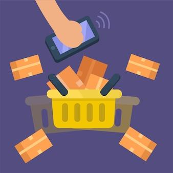 Entregue guardar móvel com bens completos da cesta, mantimento. conceito de compras online. ilustração vetorial plana