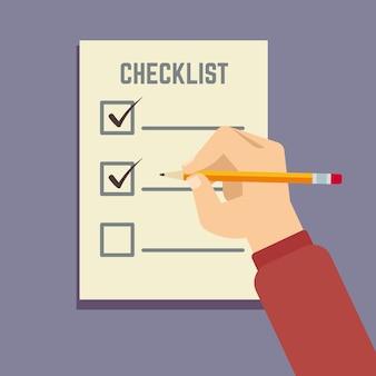 Entregue guardar o lápis com ilustração lisa da lista de verificação da prancheta. documento da lista de verificação