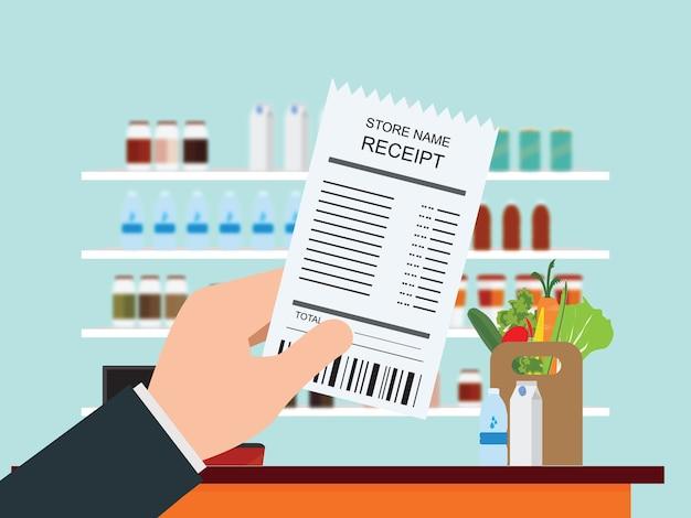 Entregue guardar o recibo das compras na mercearia, ilustração do vetor.