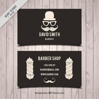 Entregue o cartão de elementos desenhados barbearia no estilo do vintage