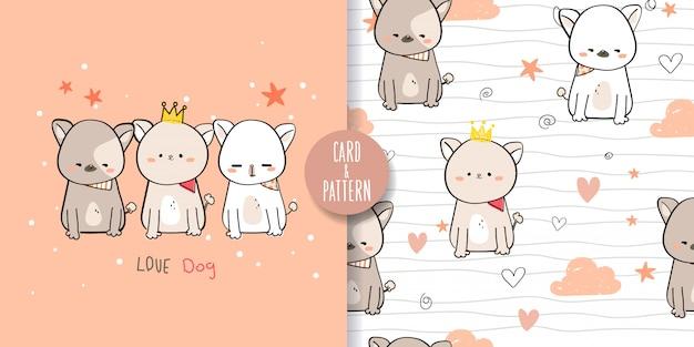 Entregue o desenho, animal de estimação, colorido, gesto, feliz com o verão ilustração e padrão sem emenda