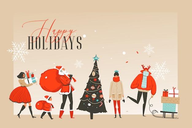 Entregue o divertimento abstrato tirado ilustrações dos desenhos animados do tempo do feliz natal cartão ou página de aterrissagem com povos felizes do mercado do xmas e copie o lugar do espaço para seu texto no fundo do ofício.