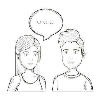 Entregue povos de fala uncolored tirados sobre o fundo branco. ilustração vetorial.