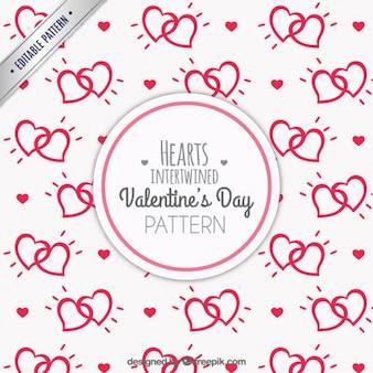 Entrelaçado padrão de corações