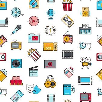 Entretenimento, cinema, filme, filme sem costura padrão vector