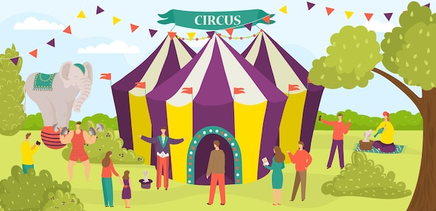Entretenimento circo tenda desempenho carnaval performer grupo de pessoas personagem plana vetor illus ...