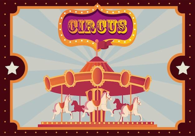 Entretenimento de carrossel de festival de feiras com banner na ilustração do pôster