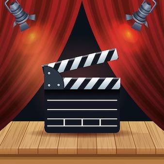 Entretenimento de cinema com cortina e claquete