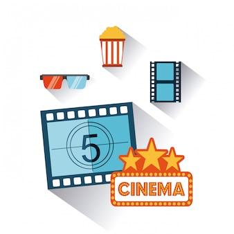 Entretenimento de cinema conjunto de ícones planas