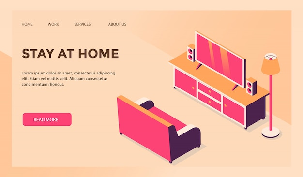 Entretenimento doméstico de conceito de estadia em casa para o modelo de site ou a página inicial de destino