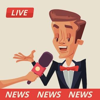 Entrevista ao vivo entrevistas com políticos entrevista com ilustração de desenho animado estrela de cinema