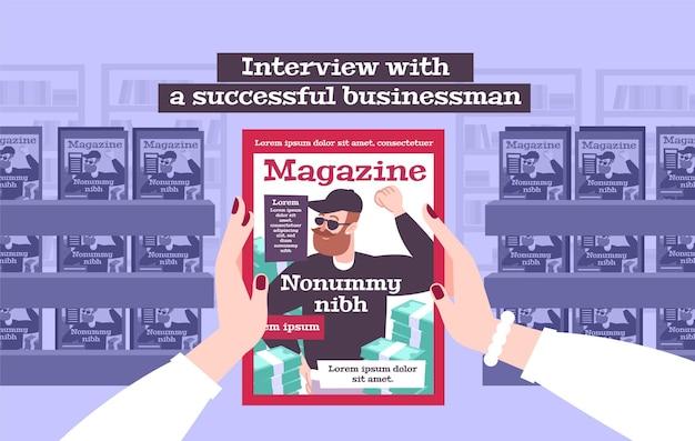 Entrevista com ilustração de um empresário de sucesso