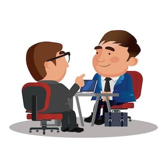 Entrevista de emprego com oficial de rh e candidato
