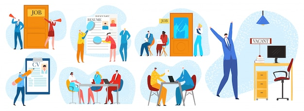 Entrevista de emprego, conjunto de ilustrações de contratação e recrutamento. processo de contratação com pessoas aguardando entrevista de recrutamento de negócios no escritório, rh, currículo e entrevista, empregador.
