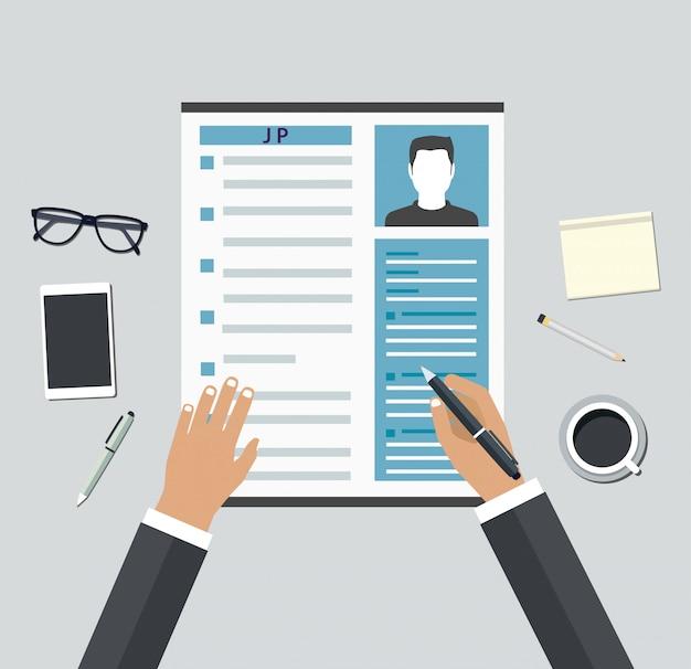 Entrevista de emprego. consideração por perfis de pessoal