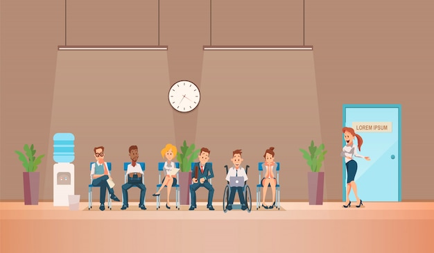 Entrevista de emprego e recrutamento. ilustração vetorial.