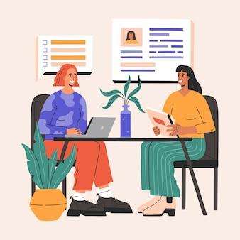Entrevista de emprego entre duas mulheres felizes, recrutadora e candidata a uma vaga.