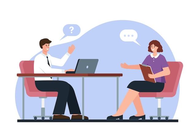 Entrevista de emprego recrutamento ou gerente de rh do serviço de emprego