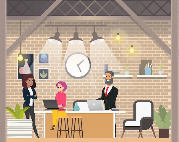 Entrevista de negócios no moderno espaço aberto coworking.