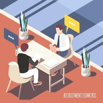 Entrevista de recrutamento isométrica com candidato e empregador, olhando para a ilustração em vetor folha currículo